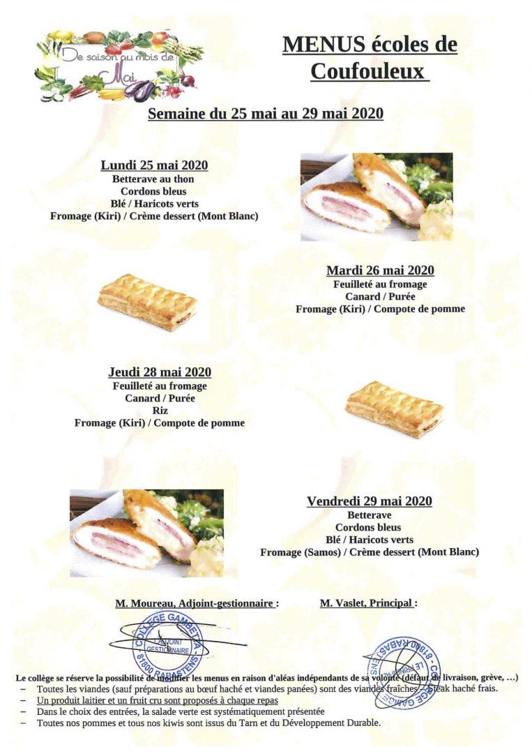 menu cantine semaine 22-2020