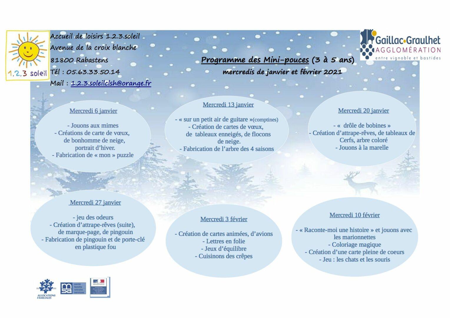 Programme mini pouces mercredis janvier et fevrier 2021 -