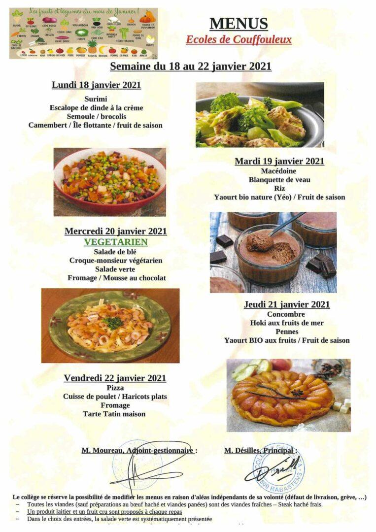menus ecoles du 18 au 22-01-2021
