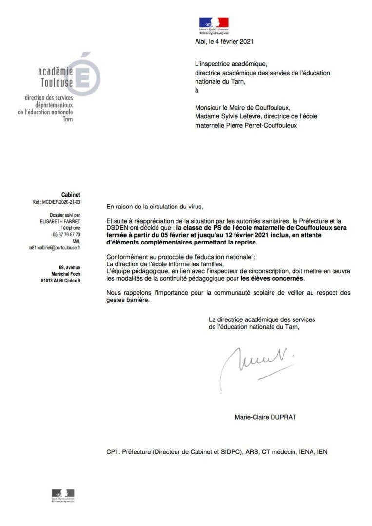 courrier fermeture classe de PS école maternelle Pierre Perret Couffouleux