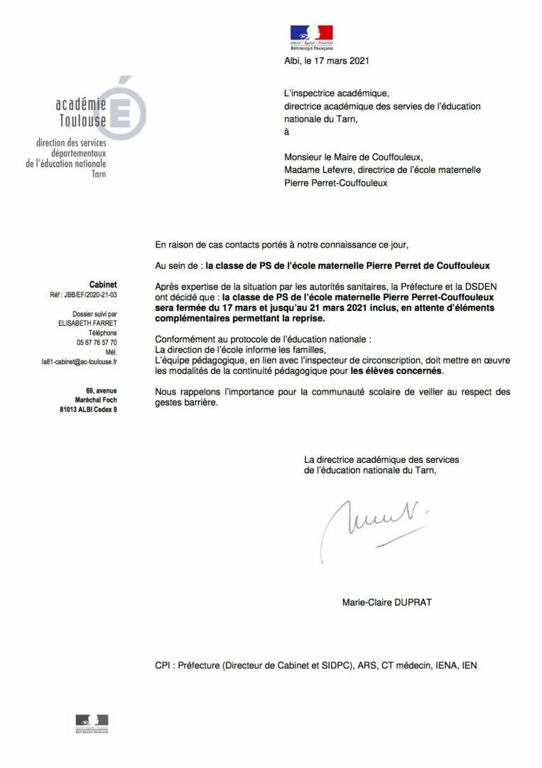 Courrier fermeture classe PS école maternelle Pierre Perret-Couffouleux